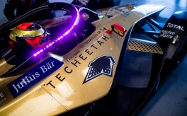 Jean-Eric Vergne (FRA) DS Techeetah, DS E-Tense FE20, with the halo lit up in the garage
