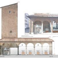 Torre del Papito biglietteria e spazio espositivo nel portico